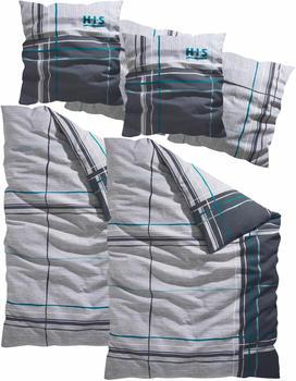 H.I.S Jeans Piet Linon 2x80x80+2x135x200cm grau