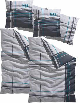H.I.S Jeans Piet Biber 2x80x80+2x155x220cm grau