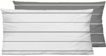Biberna Mix Match 2x 80x40cm Streifen schwarzgrau