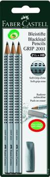 Faber-Castell Grip 2001 HB 3x + Radierer (117197)