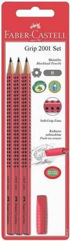Faber-Castell Bleistift Grip 2001 B 3x + Eraser Cap rot (580221)