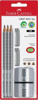 Faber-Castell GRIP 2001 Set 3 Bleistifte 2 Radierer 1 Spitzer silber (117098)