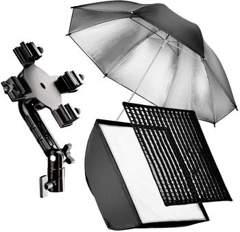 Walimex 4f Blitzhalter inkl. SB 60 + Schirm silber