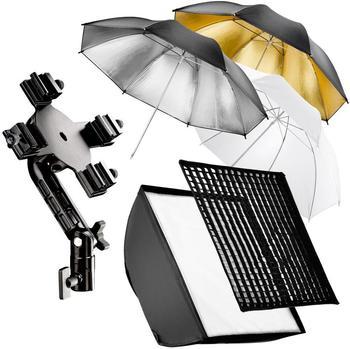 Walimex 4f. Blitzhalter inkl. Softbox und Schirmset