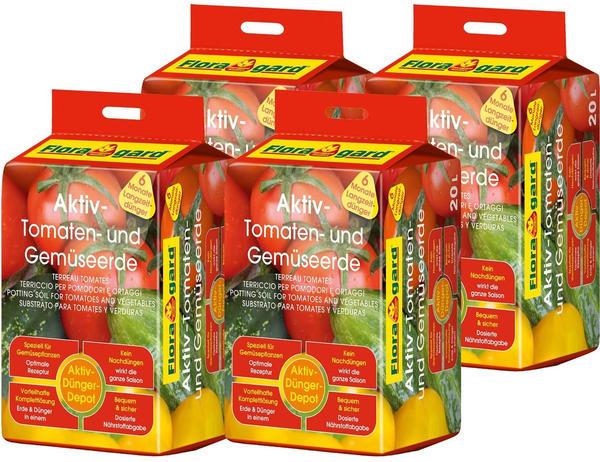 Floragard Aktiv Tomaten- und Gemüseerde 4 x 20 Liter