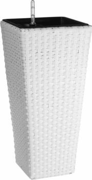 Gartenfreude Pflanzgefäß Polyrattan eckig (28 x 28 x 60 cm) weiß