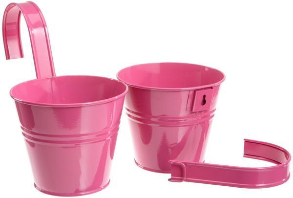 Siena Garden Blumentopf inkl. Halter 2er Set pink