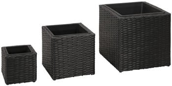 vidaXL Outdoor planters 3 pcs. Braided Resin Black