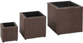 vidaXL Outdoor planters 3 pcs. Braided Resin Brown