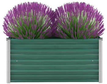 vidaXL Planter Galvanized steel 100 x 40 x 45 cm Green