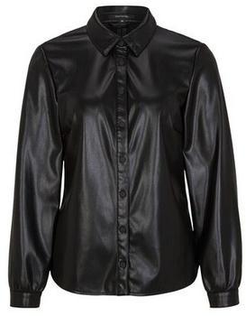 Comma Fake Leather-Bluse (81.011.11.2642.9999) schwarz