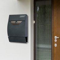 Homcom Briefkasten Postkasten Wandbriefkasten mit Zeitungsfach abschließbar 2 Schlüssel