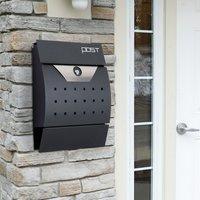 Homcom Briefkasten Postkasten mit Zeitungsfach abschließbar 2 Schlüssel Stahl Schwarz
