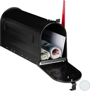 Relaxdays US Mailbox, Vintage, Fahne rot, originelle Zeitungsbox, Zeitungsrolle, Post box, Stahl,