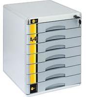 Yellow One Schubladenbox A4 abschließbar mit Schloss mit 7 Fächern aus Metall Farbe: silber