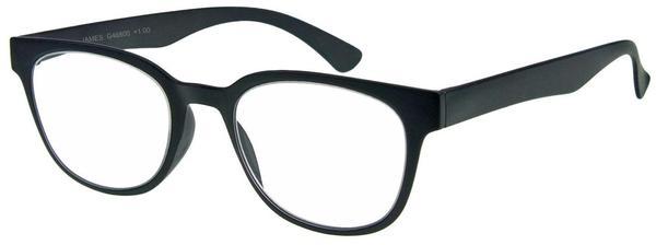 I NEED YOU James Schwarz, Retro-Kunststoffbrille Dioptrien +02.00)