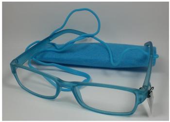 Michel Toys Schicke Lesebrille +1,0 Diop. Lesehilfe unisex Sehhilfe Blau Brillenband Filz-etui Sehhilfe