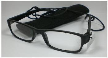 N N Schicke Lesebrille +2,5 Diop. Lesehilfe unisex Sehhilfe schwarz Brillenband Filz-Etui Sehhilfe