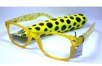 N N Moderne Damen Lesebrille +1,0 Diop. Lesehilfe Kunststoff Sehhilfe gelb mit Etui