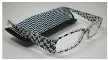 "Michel Toys Moderne Damen Lesebrille Lesehilfe Stoff-Etui "" Black & White"" Sehhilfe Design 1 +3,0 Dioptrien"