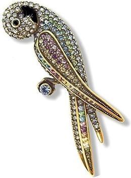 Nobel Schmuck Brosche Vintage Papagei mit Swarovski-Kristallen