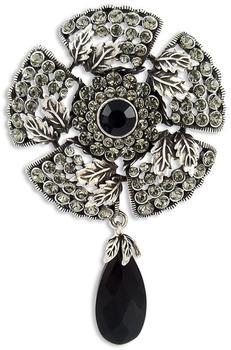 Nobel Schmuck Brosche Gothik mit Swarovski-Kristalle schwarz