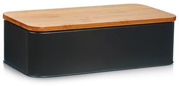 Zeller Brotkasten mit Bamboo Deckel 42,5 x 23 x 13 cm (schwarz)