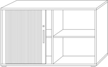 Hammerbacher QRS Querrollladenschrank grau/silber 120cm/2OH Streifengriff