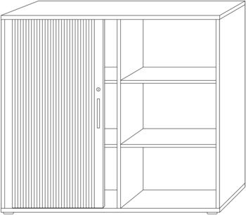Hammerbacher QRS Querrollladenschrank grau/silber 120cm/3OH Chromgriff