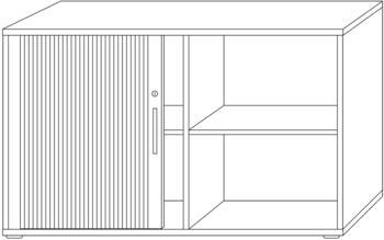 Hammerbacher QRS Querrollladenschrank Nussbaum/silber 120cm/2OH Chromgriff