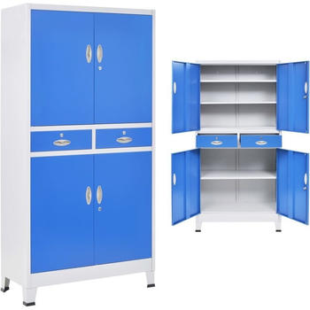 vidaXL Office Storage 4 Doors 2 Drawers 90 x 40 x 180 cm Blue and Grey