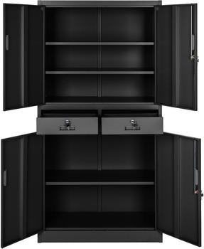 TecTake Office Storage 2 Compartments and 2 Drawers Black