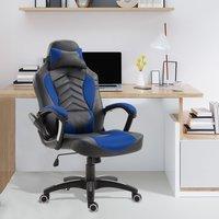 Homcom Bürostuhl Sportsitz Massagesessel Drehstuhl mit Wärmefunktion Büro Blau