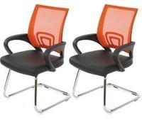 Mendler 2x Konferenzstuhl Afragola, Besucherstuhl, Kunstleder ~ orange