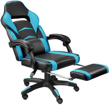 TecTake Racing Bürostuhl mit Fußstütze schwarz/azur