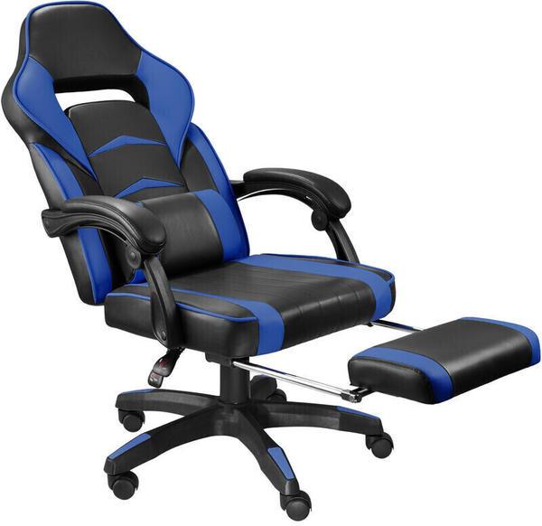 TecTake Racing Bürostuhl mit Fußstütze schwarz/blau