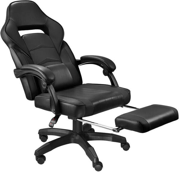 TecTake Racing Bürostuhl mit Fußstütze schwarz