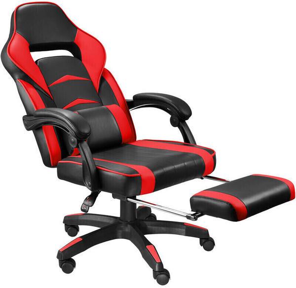 TecTake Racing Bürostuhl mit Fußstütze schwarz/rot