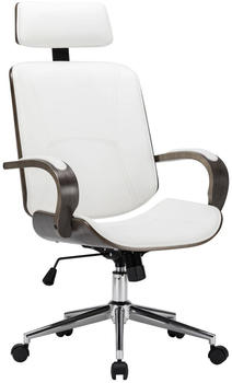 vidaXL Office Chair With Headrest in White Fake Leather