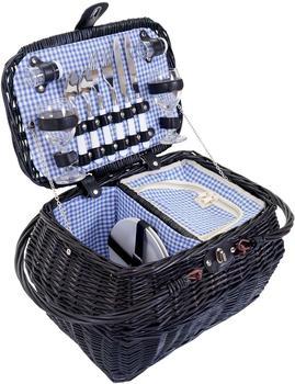 Mendler Picknickkorb-Set für 2 Personen blau-weiß