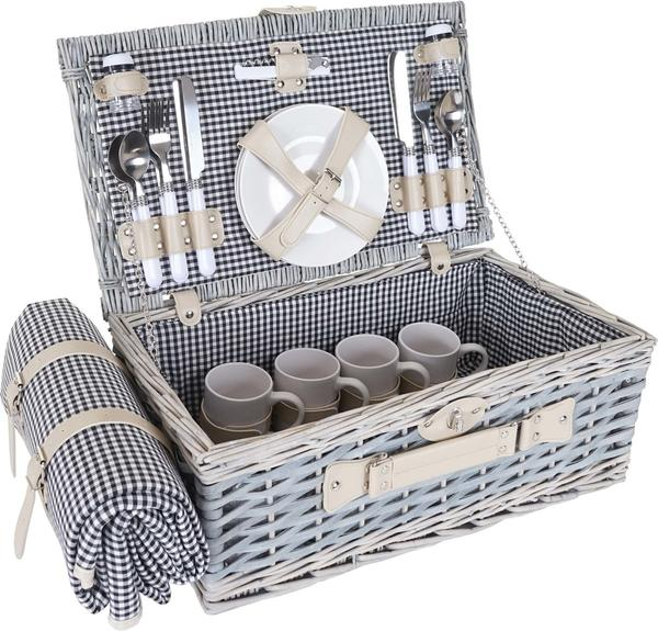 Mendler Picknickkorb-Set 4 Personen (HWC-B24)