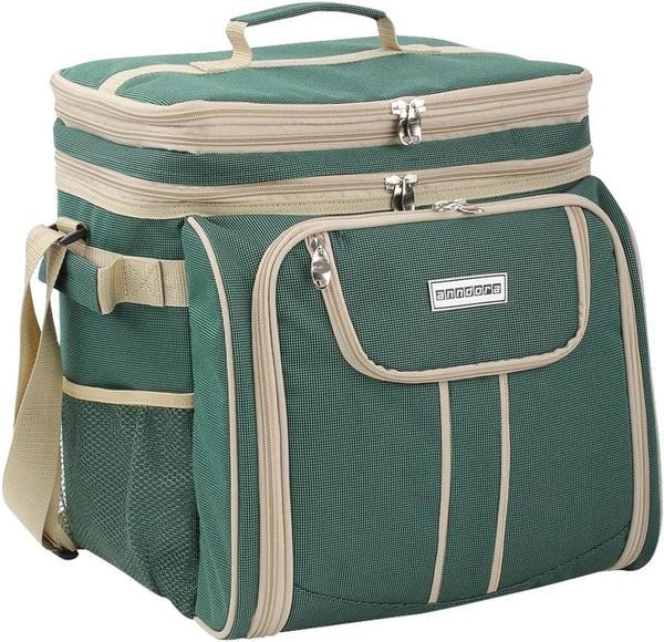 anndora Picknicktasche/Umhängetasche + 29-teiliges Zubehör (grün)