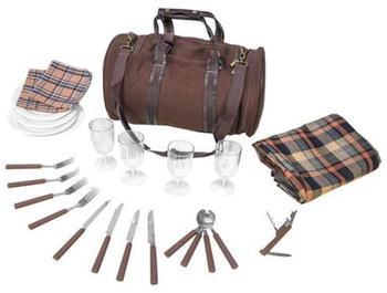 anndora Picknicktasche + Decke + Thermofach inkl. Geschirr für 4 Personen (braun)