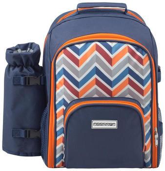anndora Picknickrucksack + Zubehör 11-teilig blau/orange