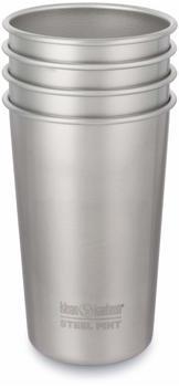 klean-kanteen-pint-becher-473ml-4-stueck-brushed-stainless