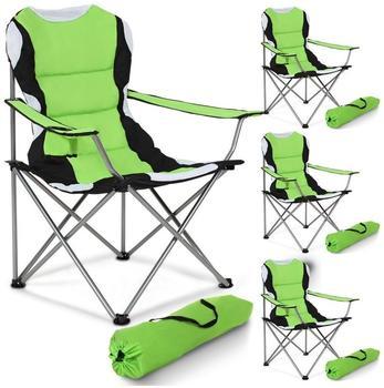 TecTake 4 Campingstühle gepolstert (grün)