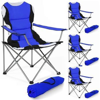 TecTake 4 Campingstühle gepolstert (blau)