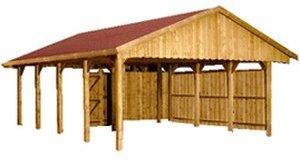 Skan Holz Satteldach Einzel-Carport (Tiefe: 600 cm)