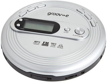 Groov-e Retro Series Personal CD Player + Radio MP3 Playback and Earphones Silver