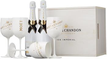 Moët & Chandon Ice Impérial in Holzkiste mit 4 Gläsern 2x0,75l